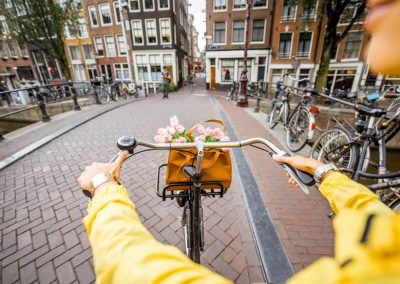 Riding a bicycle in Amsterdam