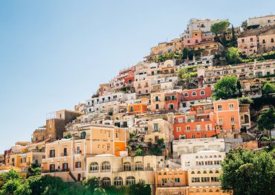 Positano town colorful buildings in Italy